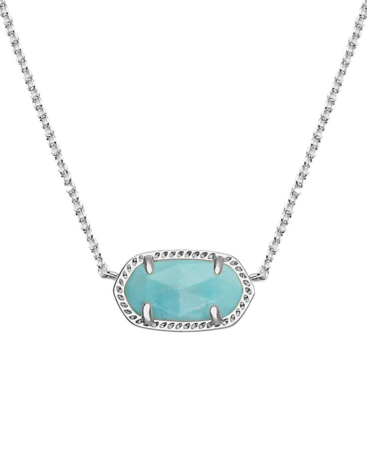 Elisa Silver Pendant Necklace in Turquoise - Kendra Scott Jewelry