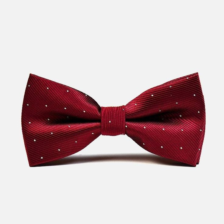 Red Polka Formal Bow Tie: Mellow and inviting, the wine-colored material of this bowtie will be the perfect catalyst to set the mood for a romantic evening. bowselectie.com