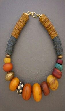 Amber necklace-love the 1 black/white bead mixed in