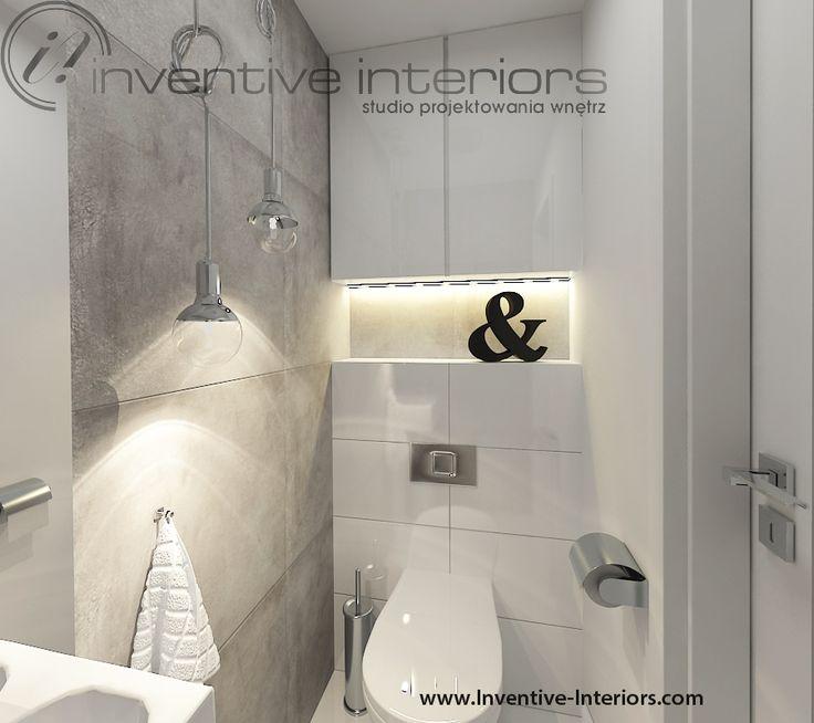 Projekt łazienki Inventive Interiors - szare płytki imitujące beton, industrialna łazienka