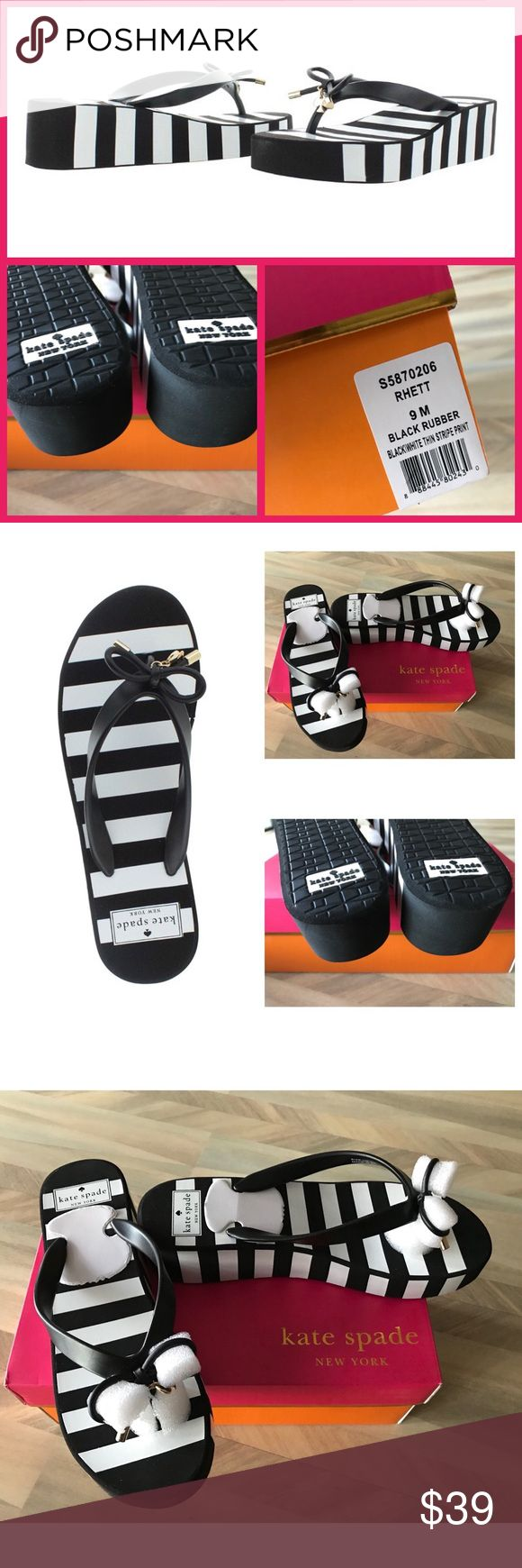 """♠️ Kate Spade Rhett Black Rubber Flip Flops NWT 9 Bold stripes add an arresting accent to jeans, shorts and skirts in Kate Spade New York's Rhett wedge flip-flops.  Round open-toe slip-on thong platform wedge flip-flop sandals with bow detail 2"""" wedge heel, 1"""" platform Rubber upper; manmade sole kate spade Shoes Sandals"""