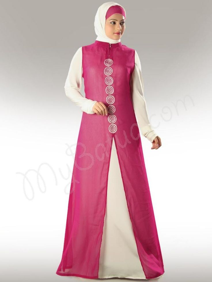 Beautiful Off White and Magenta Party Wear Abaya| MyBatua.com  Anjum Abaya!  Style No : AY-311  Shopping Link : http://www.mybatua.com/anjum-abaya  Available Sizes XS to 7XL (size chart: http://www.mybatua.com/size-chart/#ABAYA/JILBAB  •	Beautiful dual color Abaya with off white inner inside •	Band collar neckline. •	Lovely embroidery in front •	Churidar sleeves •	Utility pockets on both sides