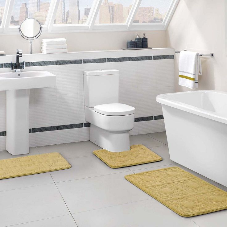 Vcny Byzantine 3-pc. Memory Foam Bath Rug Set, Lt Yellow