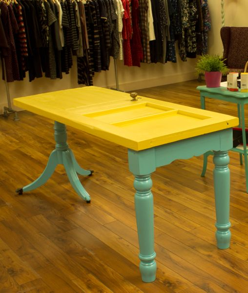 Recycled vintage door table painted wood with different wooden legs; upcycle, recycle, salvage, diy, repurpose!  For ideas and goods shop at Estate ReSale & ReDesign, Bonita Springs, FL