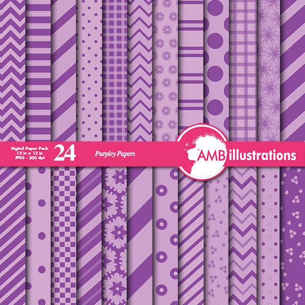 80% OFF Beautiful Mixed papers in purples chevron paperspolkadot papers striped papers mixed digital paper commercial use AMB-546