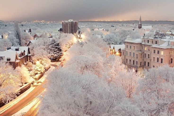 snowy dusk in liverpool, england