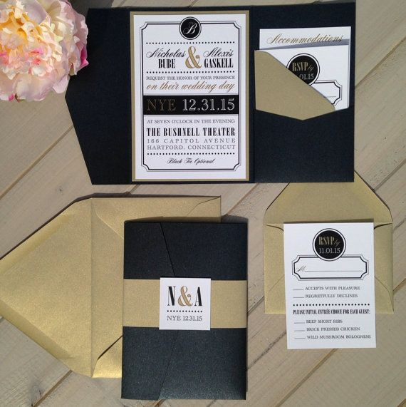 New Years Eve Wedding Invitation Black and by InspirationIDoDesign