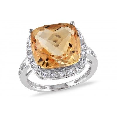 6 1/4 CT TGW Citrine and 1/8 CT TW Diamond 14K White Gold Fashion Ring