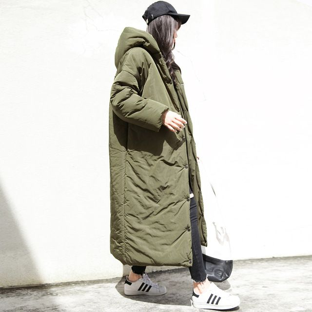Зима новый женский студент ретро случайный зеленый цвет с свободные негабаритных длинный толстый хлопок платье пальто