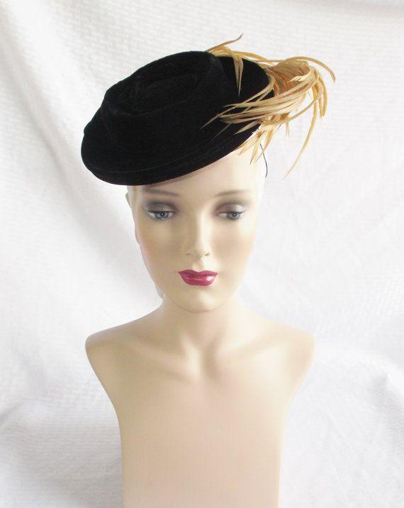 30's 40's Vintage Black Velvet Toy Tilt Hat by MyVintageHatShop