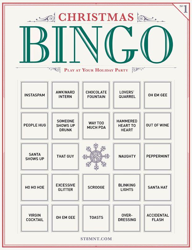 Free Printable: Holiday Party Bingo #christmas #bingo #free