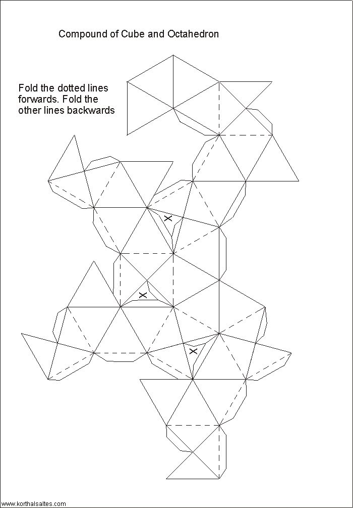 Net Compound Of Cube And Octahedron Origami Geometric