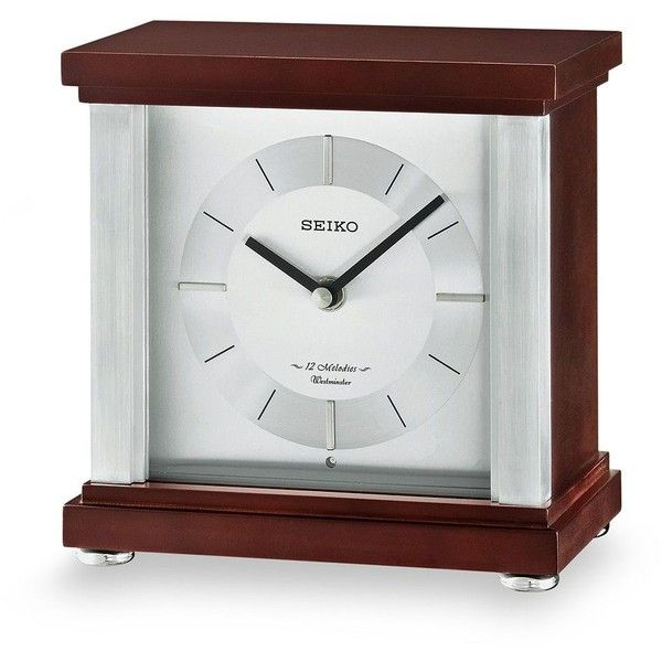 Seiko Contemporary Classics Wood Musical Table Clock ($194) ❤ liked on Polyvore featuring home, home decor, clocks, brown, wooden mantel clocks, chiming clocks, wooden clock, music clock and contemporary mantel clocks