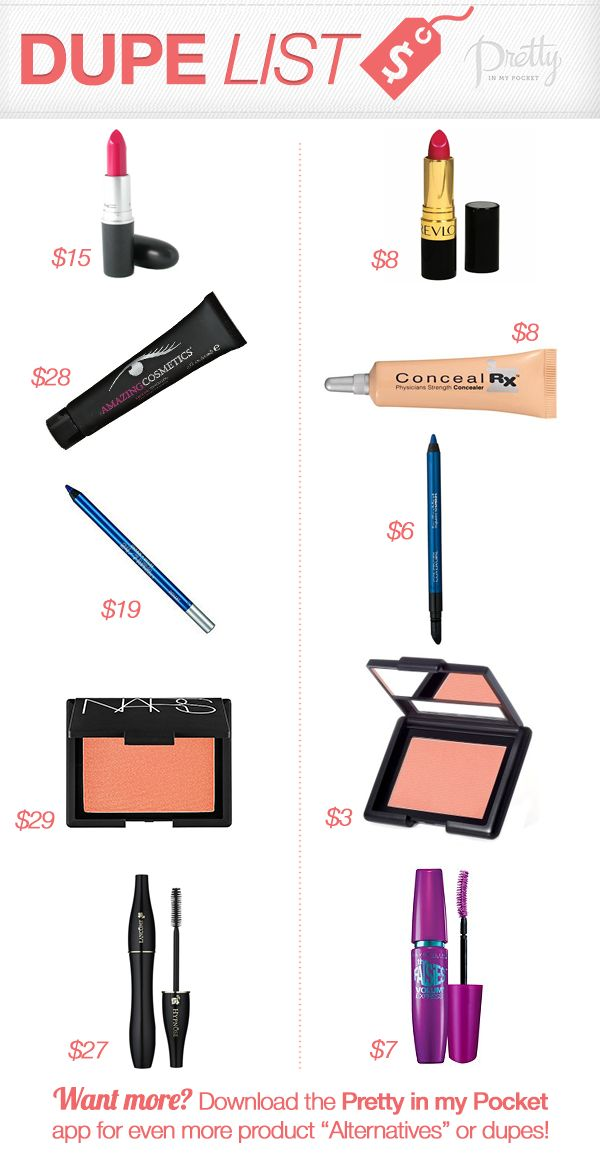 Makeup Dupe List! Find out our fave #makeup #dupes by clicking through..  #mac #lipstick #mascara #alternatives