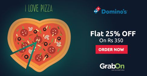 Let's Catch-up Over A #PIZZA! #Domino's Offers Flat 25% Off on Rs. 350 and above - Hurry!. http://www.grabon.in/dominos-coupons/