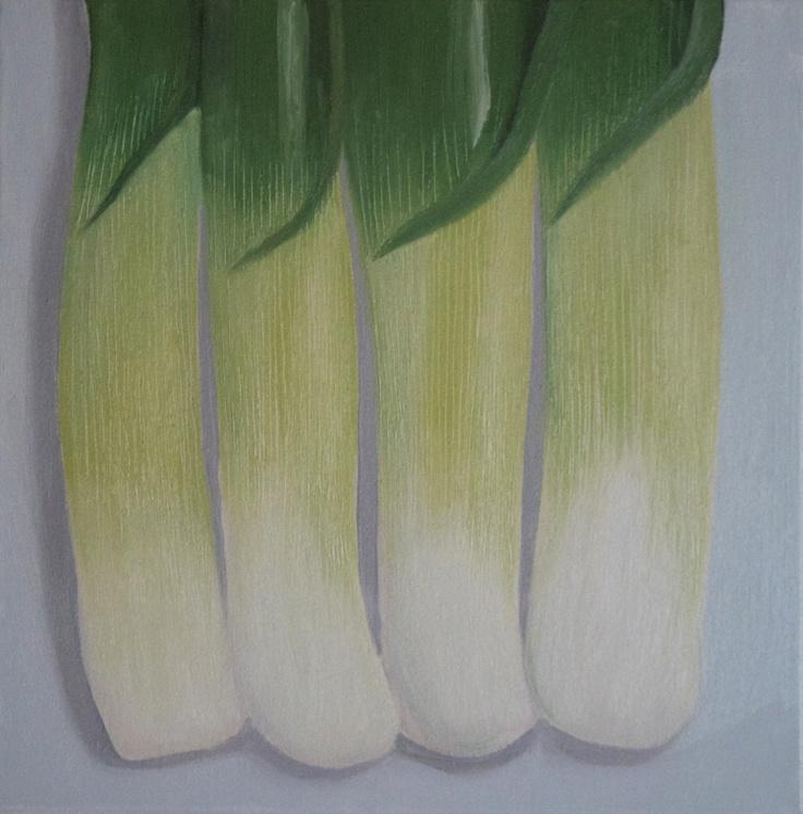'Leeks' oil on canvas 300x300mm