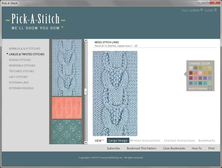 Each stitch comes with a full color photograph.  The color change feature lets you see what it will look like in your favorite color.
