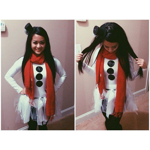 Frosty the Snowman: Layer a red scarf and black paper dots on top of white clothes for this easy costume DIY.