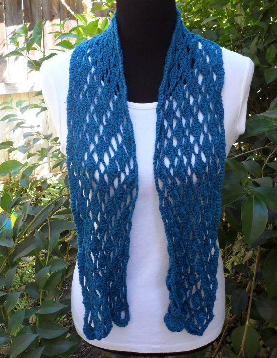 Luce di bambù estate uncinetto sciarpa sciarpa blu Lacy