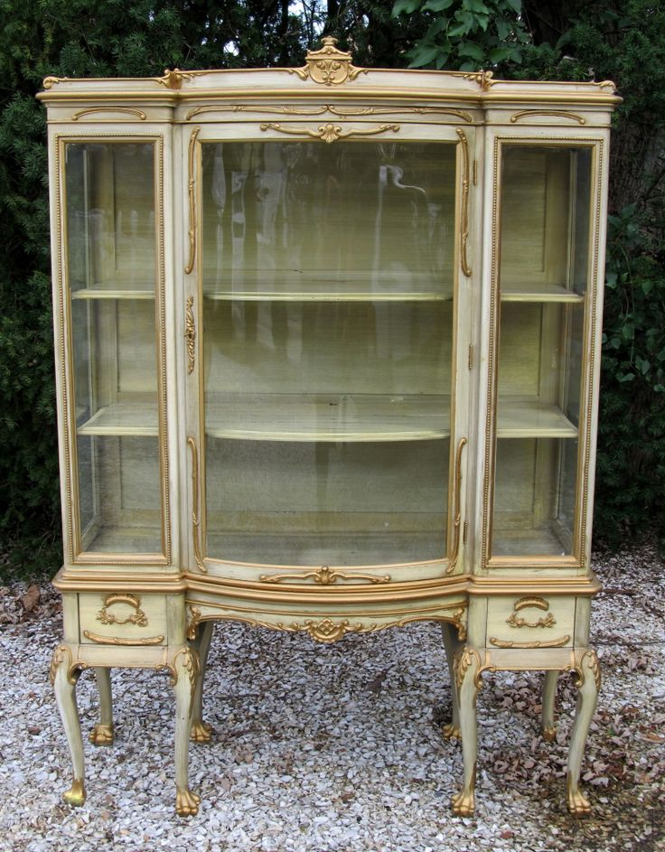 Shabby Vintage Antique French Curio Display Cabinet