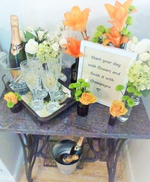 A floral celebration - complete with champagne