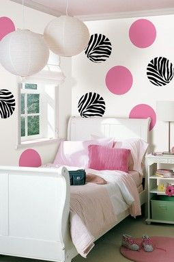 Go Wild & Flirt Dots Room Decor Kit. Pink and balck and White Zebra Print Polka Dots Wall Decor