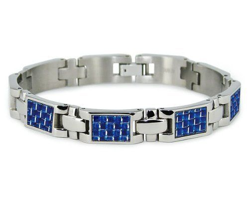 "Titanium Bracelet with Blue Carbon Fiber 8"" Tioneer. $51.95. Save 48%!"