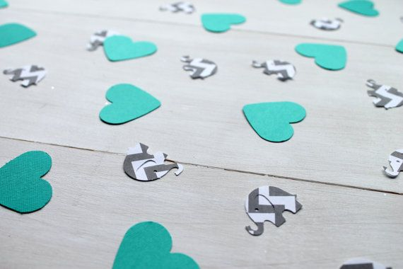Teal and Grey Chevron Confetti Baby Shower by TooCuteWreath, $3.00