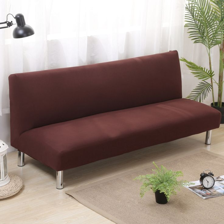 21.5USD Brown Solid Color Sofa Bed Covers For Living Room Universal Armless Couch Sofa Slipcovers For Living Room Plush Covers
