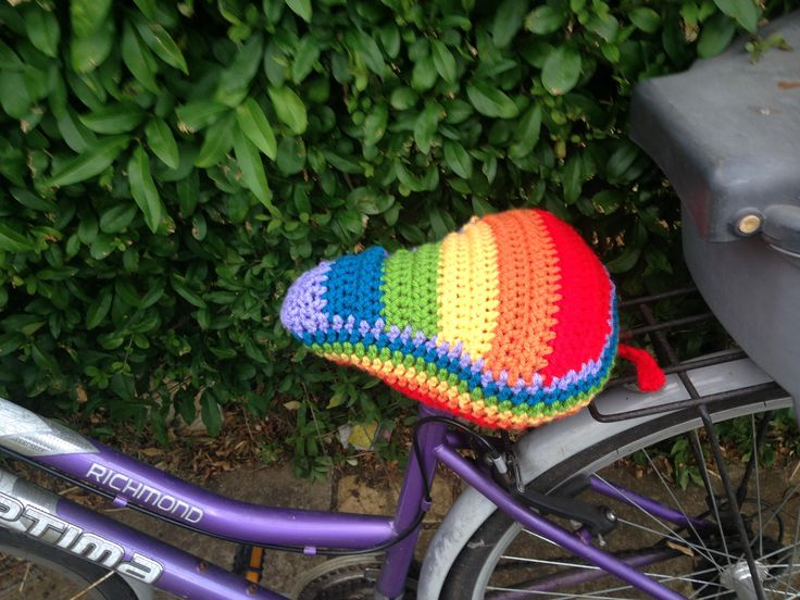 Bike seat cover, bicycle crochet seat cover, saddle cover - Rainbow, Pride, LGBT, handmade bicycle seat - Thick and chunky yarn. Gorgeous! by MummysLittleGemUK on Etsy