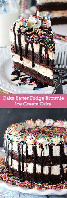 Cake Batter Fudge Brownie Ice Cream Cake - layers of brownies and cake batter ice cream with hot fudge mixed in! (scheduled via http://www.tailwindapp.com?utm_source=pinterest&utm_medium=twpin&utm_content=post587905&utm_campaign=scheduler_attribution)