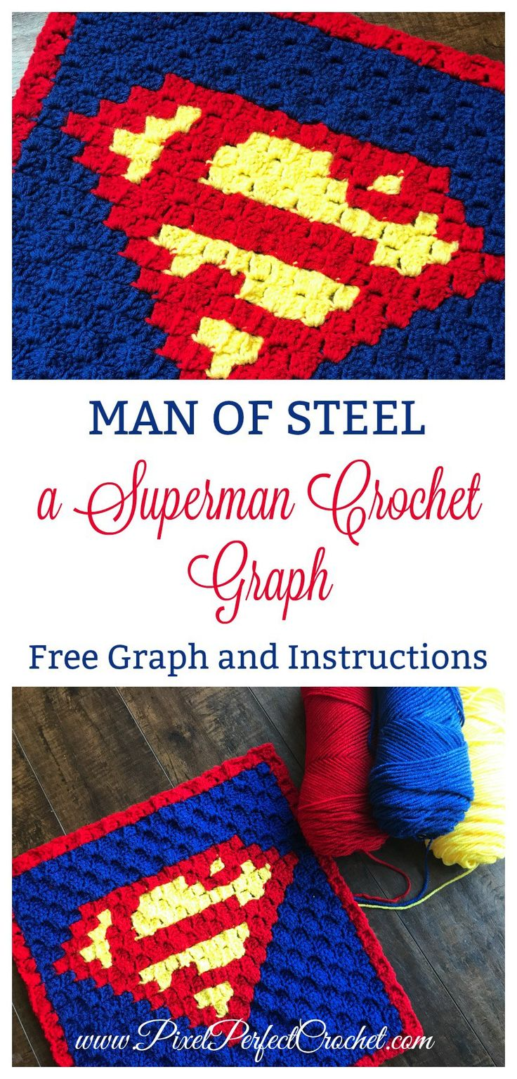 This looks like a job for Superman!   Check out this super-powered Superman corner to corner (C2C) crochet Graph. Includes free graph and instructions!