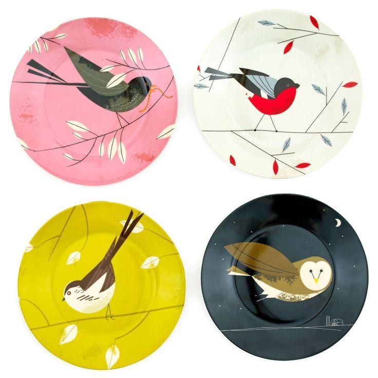 Birdy II side plates, set of four | RSPB Living | RSPB Shop