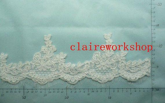 Lace Wedding Veil - Handmade Chapel Cílio Mantilla do laço nupcial em marfim ou branco Qualquer véu do casamento de comprimento personalizado