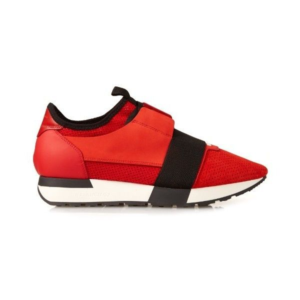 Balenciaga Race multi-panel low-top trainers ($645) ❤ liked on Polyvore featuring shoes, sneakers, red, red trainer, low profile shoes, low top, balenciaga trainers and red shoes