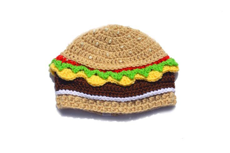 Knit Food Hat, Cheeseburger Hat, Burger Beanie, Mens Beanie, Adult Novelty Hat…