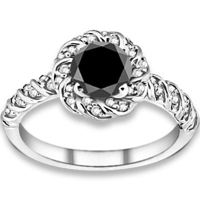 1.50ctw Round Brilliant A Quality Black Color Diamond with Accent Stone Black Diamonds Engagement Ring #engagementrings #jewelry #pricepointshop #Rings