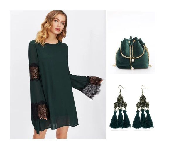 Shopping Guide: Dark Green Dresses And Accessories For The Christmas Eve #fashion #winterstyle #getthelook #darkgreendress #getthestyle #shop #shopping