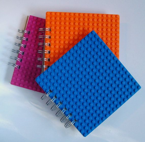 Spiral bound notebook made with LEGO r plate Set by MissCourageous, $35.00