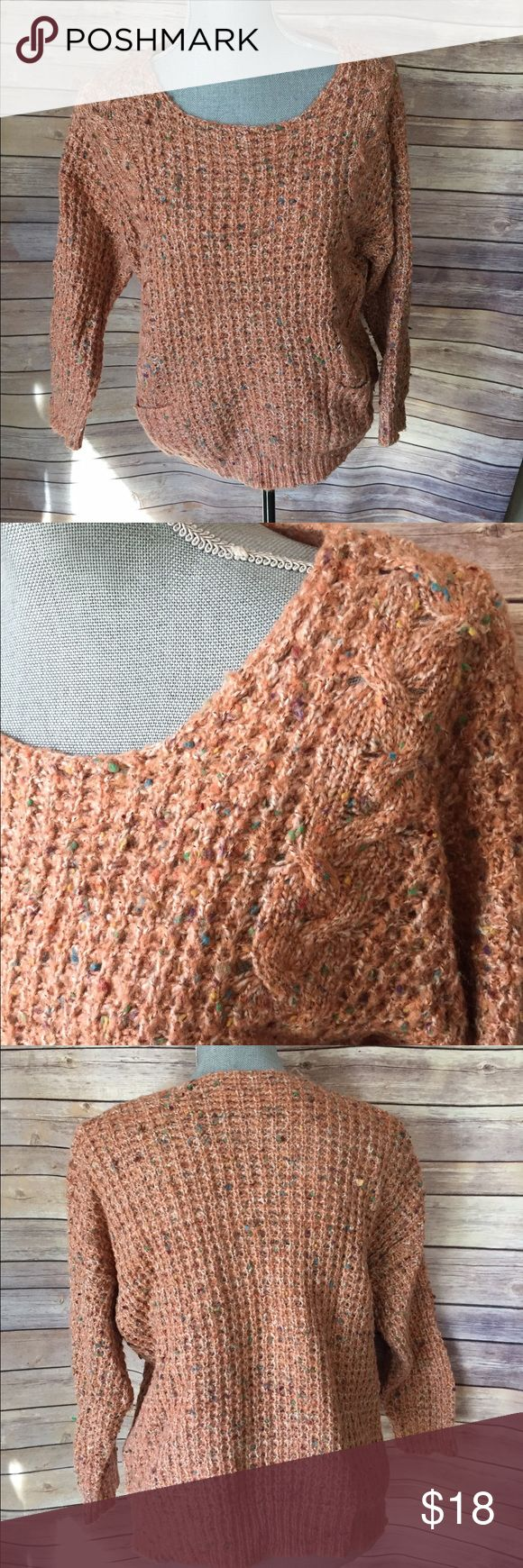 Peach and multi-color knit sweater with pockets This is an adorable sweater you can wear with jeans or a cute pencil skirt to work. Never worn but no tags including inside so not sure what size it is bit. Looks like  a small/medium. The dress. Form in the pic is def a small. Sweaters Crew & Scoop Necks