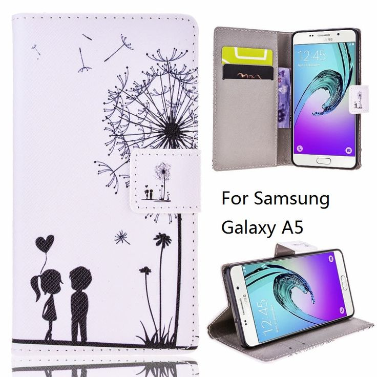 Big Discount Price for Samsung Galaxy A5 Leather Case Wallet Bag Samsung A5 Funda Coque Flip Cover White Shell Print Lovers