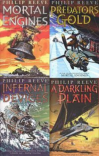 Series: The Hungry City Chronicles, by Philip Reeve (HarperCollins, 2001-2006). Here is a complete and convincing future world. Mobile cities fight for dominance in a process called 'Municipal Darwinism'. Reeve's books are peopled by complex characters whose relationships are seamlessly woven into the action. There's depth of feeling and thought here. There's also a romantic relationship between two teens who've had to grow up fast, so recommend these books for older teens. (Mara, Central…