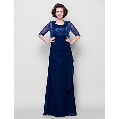 Sheath/Column Plus Sizes / Petite Mother of the Bride Dress - Dark Navy Floor-length Half Sleeve Chiffon – USD $ 119.99