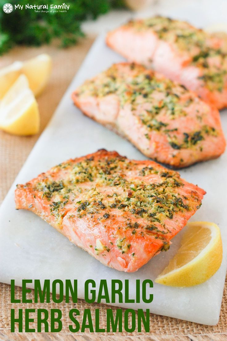 Baked lemon garlic herb crusted salmon. This fish is light and flaky and it only takes 10 minutes to bake.