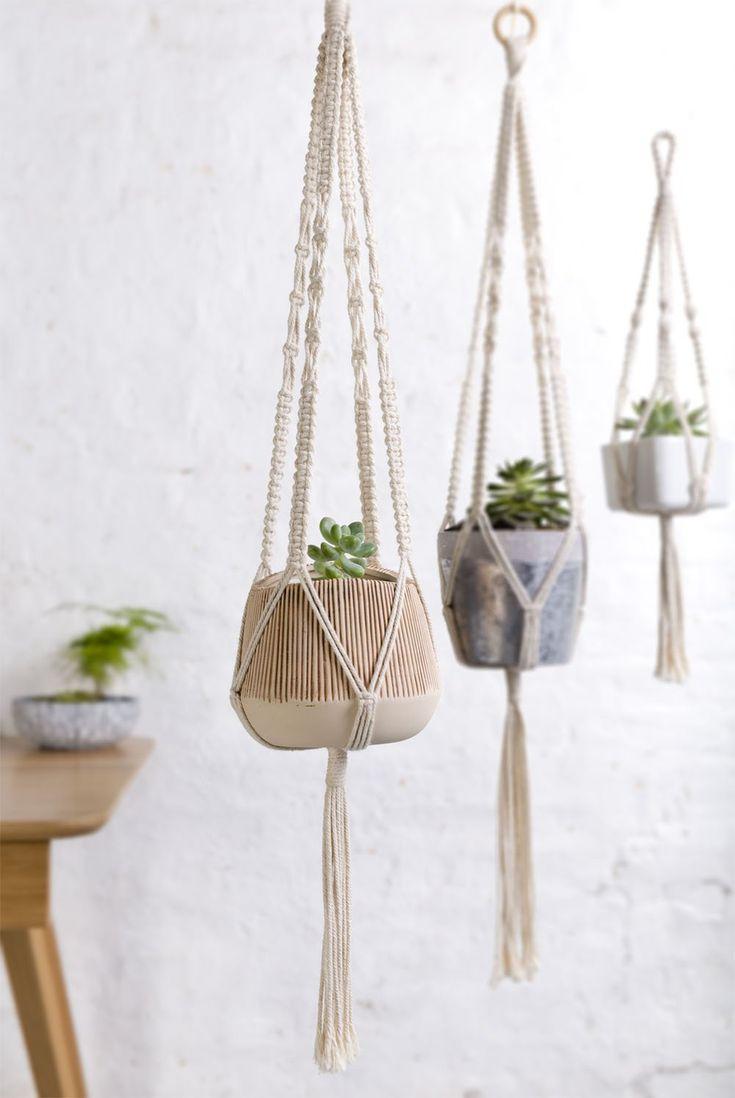 Macrame Plant Hanger (2/pkg) Succulent lovers www.topshelfdecor.com