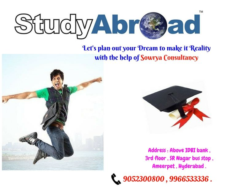 Sowrya Consultants is an overseas educational consultants based at Hyderabad. We are assisting students and we are providing TOFEL Coaching, IELTS Coaching and GRE Coaching who are looking for Study abroad like Study in USA, Study in Australia, Study in Canada and Study in Ireland, Study in New Zealand, Study in Germany, Study in UK and Study in Singapore. We are also expert Visa consultants in Hyderabad