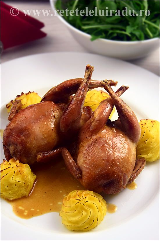 Stuffed quails served with sauce brune and pommes de terre duchesse