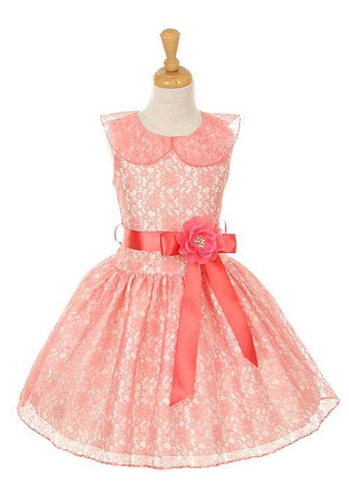 Coral flower girl dress...modern vintage?