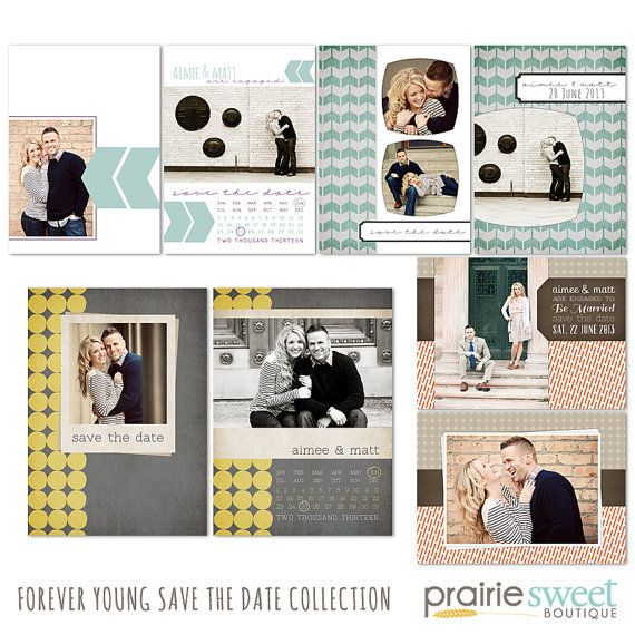Save the Date Photoshop Templates for Photographers - Forever Young - Set of 8 PSD Files - CS4002 on Etsy, $36.00