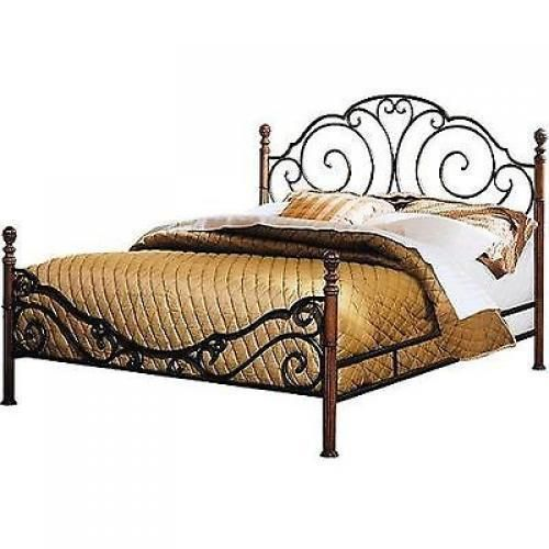 Wrought Iron Cherry Wood Painted Finish Queen Bed